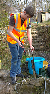 Sampling private water supplies in Cornwall, England